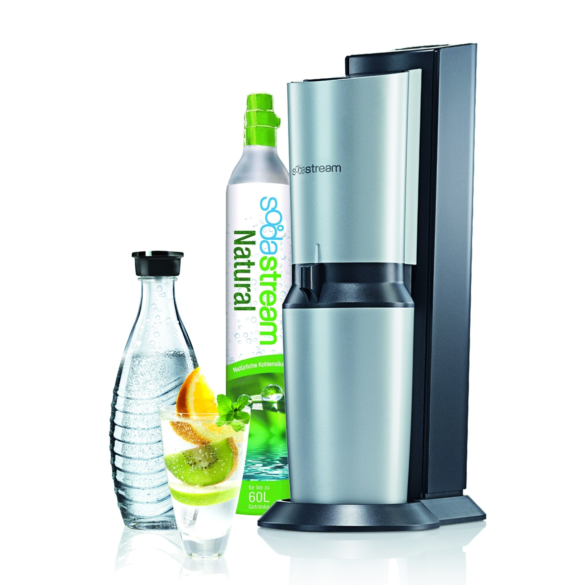 sodastream trinkwassersprudler crystal schwarz und glaskaraffe und 60 l zylinder ebay. Black Bedroom Furniture Sets. Home Design Ideas