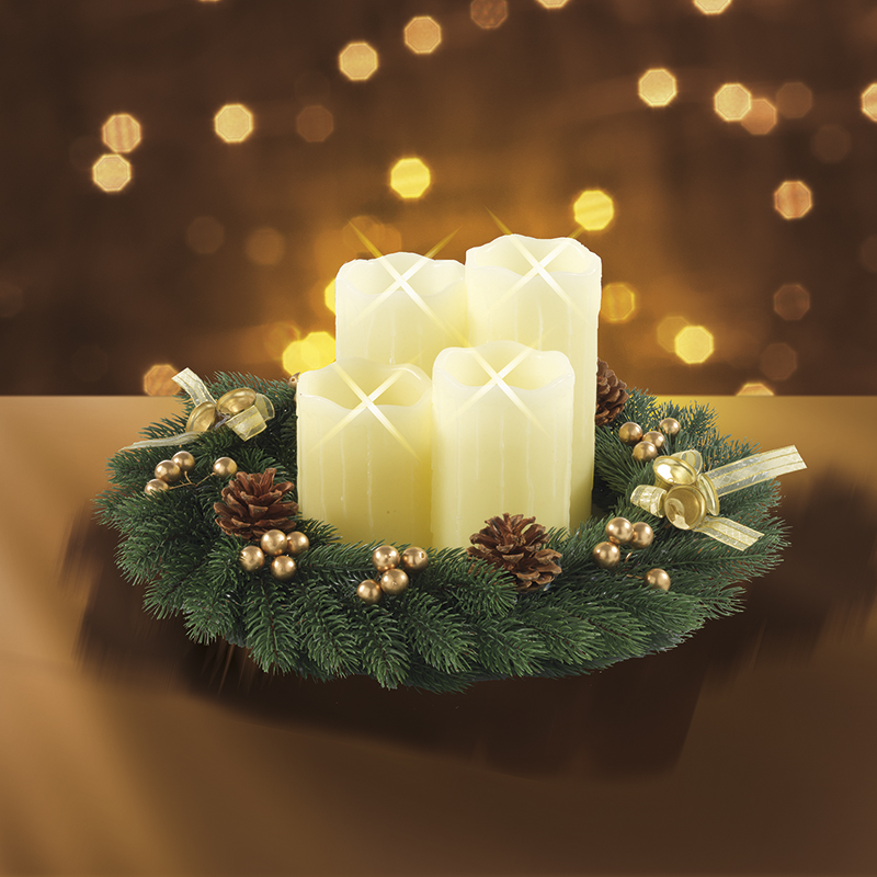christmaxx adventskranz rund mit 4 led echtwachskerzen creme gold b ware ebay. Black Bedroom Furniture Sets. Home Design Ideas
