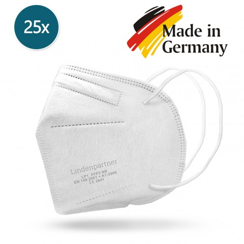 Atemschutzmaske FFP2 NR - Partikelfiltrierende Halbmaske - Made in Germany - 25er-Set