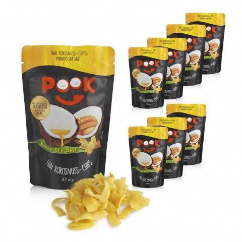 POOK Kokosnuss-Chips - Mango Sea Salt - 8x 40 g