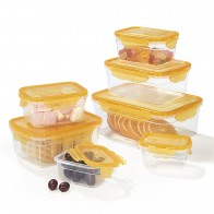 BPA-Free Food Storage Container-Set, 14 Pieces | Suitable for Dishwasher, Freezer, Microwave | Clip Lid Food Container | Air tight, liquid proofed and Aroma Safe (Mango)
