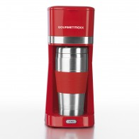 GOURMETmaxx Single-Kaffeemaschine mit Thermo- & Keramik-Becher, rot