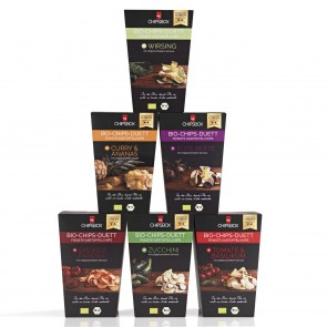 My Chipsbox Bio-Chips-Duett 6-tlg. (Curry, Rote Beete, Paprika, Tomate,Wirsing, Zucchini) je 90 g - Lieferumfang