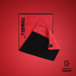 Towell Multifunktions-Handtuch in Rot mit Clip in Schwarz