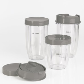 GOURMETmaxx Nutrition Mixer Becher-Set 8-tlg. in Grau - Set