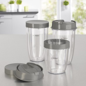GOURMETmaxx Nutrition Mixer Becher-Set 8-tlg. in Grau