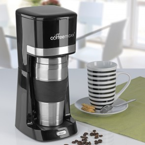 coffeemaxx Single-Kaffeemaschine in Schwarz inkl. Keramikbecher und Thermobecher