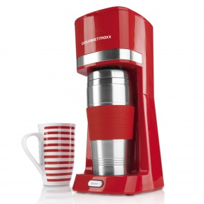 GOURMETmaxx Single-Kaffeemaschine 650W in Rot mit Thermo- & Keramik-Becher - Freisteller